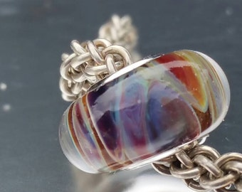 Angelic rainbow Glass Bracelet Charm Bead - fits big hole bead, large hole bead, european charm bracelets, UK SRA
