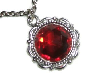 RUBY RED NECKLACE Czech Glass Pendant Quality Faceted Stone Silver Pltd