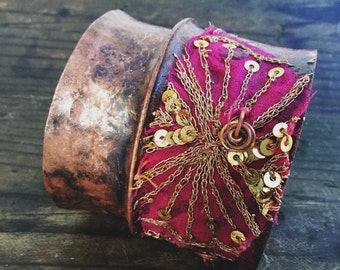 Fold-formed copper cuff with embroidered sari fabric | rustic copper cuff, copper cuff, copper cuff bracelet, textured copper, wide cuff
