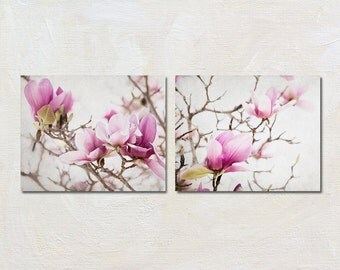 Magnolia Art Print Set of Three, Pink Flower Photography, Shabby Chic Artwork, Cottage Wall Decor Collection, Feminine Bedroom Pictures