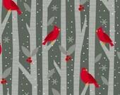 Wilmington Prints - Alpine - Cardinals in Trees - Dark Gray
