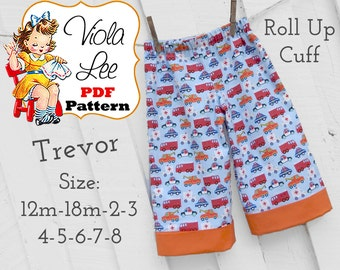 Trevor...Boy's Pants Pattern, Boys Sewing Pattern PDF, Cuffed Long Pants, Beach Shorts, Shorts. INSTANT DOWNLOAD. Toddler Sewing Pattern