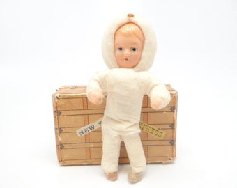 1940's Snow Baby, Antique Spun Cotton Doll with Hand Painted Celluloid Face for Christmas