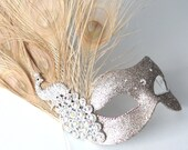 Champagne Gold Jewelled Peacock Feather Swarovski Masquerade Mask