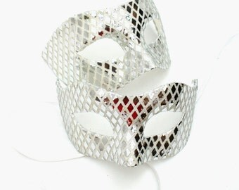 Men & Women's Silver Diamond Matching Mirrored Masquerade Masks
