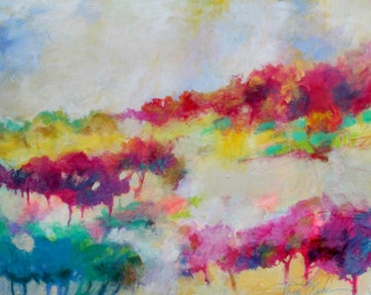 "Original Abstract Landscape Painting on Large Canvas, Colorful, Intuitive 24x30"" ""Catch the Wind"""