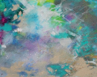 """Abstract Expressionist Painting on Canvas, Turquoise Blue, Green, """"Tangled Up in Blue"""" 12x24"""""""