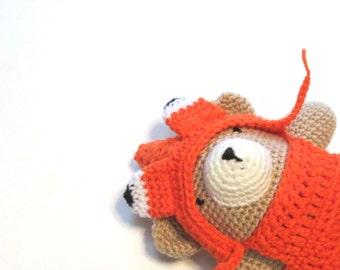 Crochet fox bear.  Amigurumi stuffed bear with removable fox costume.  Bear stuffed animal.   Easter basket filler baby.  Baby photo prop.
