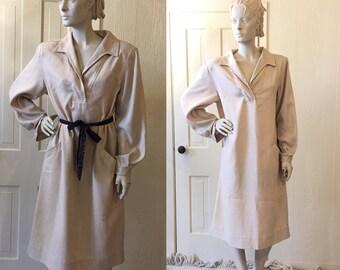 Vintage 70s Halston Tunic Dress Herringbone Designer LG XL D449