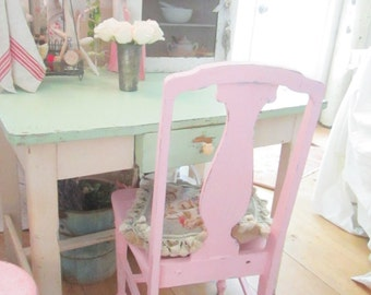 Farmhouse chair  vintage chair pink chair chippy shabby chic  prairie