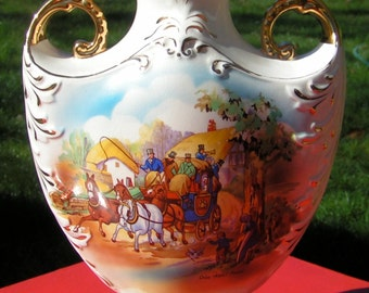 1900s Classic FENTON WARE Double Handle VASE Staffordshire England Old Kent Road