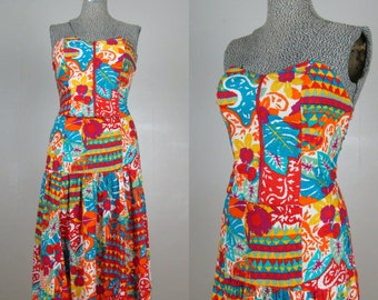 Vintage 1980s 2pc Strapless Dress 80s Funky Print Bustier and Skirt Set by Platinum Size 4-6/S