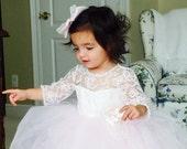 Lace Dress, Tutu Dress, Blush Princess Dress, Flower Girl, Wedding, Pearl Trim, Large Bow,