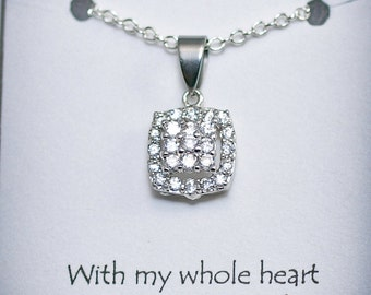Mother of the Bride from the Groom - MOB7B - Cubic Zirconia Necklace, Mother of the Bride, Cushion Setting Pendant, Mother of the Bride
