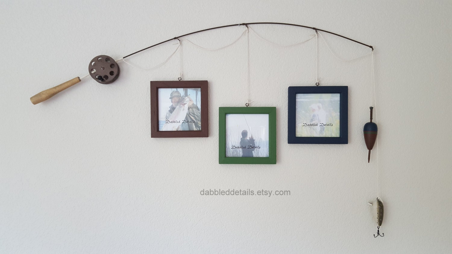 Fishing pole picture frame brown or silver pole 3 5 in x for Fishing picture frame