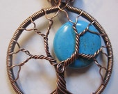 Turquoise Full Moon Tree of Life set in Antiqued Copper Wire, Wire Wrapped Turquoise Tree of Life, Wire Wrapped Turquoise Pendant