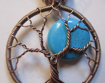 Tree of Life, Turquoise Moon Antiqued Copper Wire, Wire Wrapped Turquoise Tree of Life, Wire Wrapped Turquoise Pendant