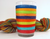 Self Striping Fingering Weight Sock Yarn, Wool and Nylon, 10 Color Stripe, Hand Dyed, Turquoise, Orange, Green