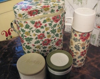 Mid Century Mint Flowered Lunch Box with Thermoses