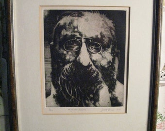 1976 Scott Prior Etching of Auguste Rodin. Fantastic. Signed.