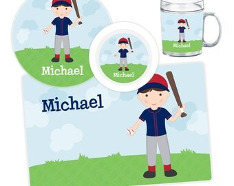 Baseball Boy Plate, Bowl, Mug or Placemat - Personalized Plate for Kids - Custom Kids Melamine Tableware - Kids Plate Bowl Set