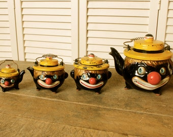 Antique Black Americana Red Ware Thames Clown Tea Set Collectible