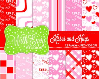 SALE  Valentine Digital Scrapbook Paper - Heart Scrapbook Paper - Kisses and Hugs Paper - Pink and Red Paper - Commercial Use