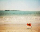 Beach photo, summer decor, seaside, ocean photography, seafoam green, turquoise, beige orange, peaceful zen photograph