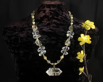 Herkimer Diamond Necklace, Citrine Necklace, Natural Crystal Necklace, Chunky Crystal Necklace, Gold and Diamond Necklace, Clear Quartz