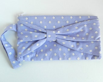 Lavender and Blue Bow Clutch (with wrist strap)