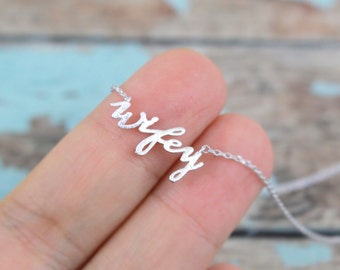 Silver Wifey Necklace, Wifey Charm Necklace, Bridal Gift, Wedding Necklace, Bridal Shower Gift - 3025
