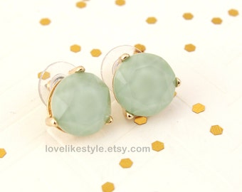 Mint Stone Studs Earrings, Mint Studs Earring,  Bridal Earrings, Bridesmaid Earrings, Flower Girl Earrings