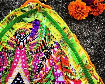 Size MediumHandmade Beaded Cheeky Bikini (Tropical Colors: Green, Pink, Orange, and Yellow)