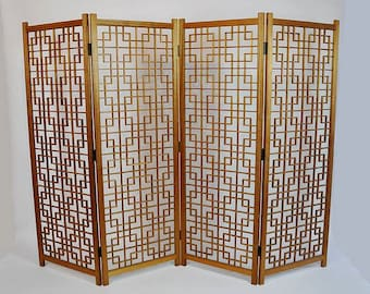 SOLD:  Mid Century Modern Brutalist Geometric Solid Teak Room Divider/Screen