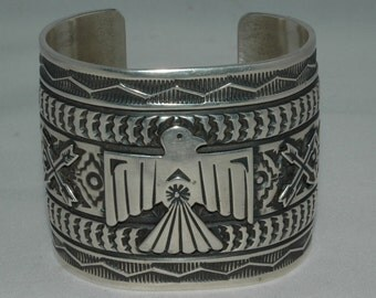 Stunning Wide Heavy Sterling Navajo Sunshine Reeves Hand Wrought Fred Harvey Era Design Exquisite Thunderbird Bracelet  108 Grams