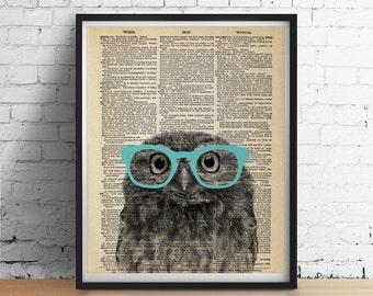 PRINTABLE Art OWL Wearing Glasses Print, Cute Animal Poster, Nursery Kids Room decor Dictionary Art Book Page Dorm Wall Art Digital Download
