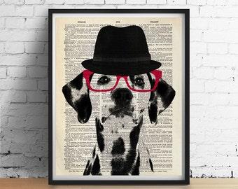 DALMATIAN Dog Hat Glasses ORIGINAL Art Print Poster Black and White Decor Animal Pet Portrait Illustration Dictionary Book Page More Sizes