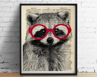 RACCOON Wearing Glasses Art Print Poster Animal Illustration Home Decor Nursery Wall Art, Black White Red, Dictionary Art 8x10 A3 More Sizes