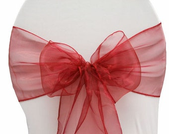 Chair Sashes. 100  Wedding Chair Sashes. Chair Bows.  Apple Red  Organza Pew Bows Party Bows Event