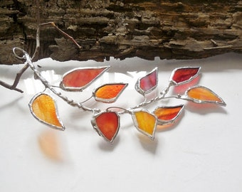Orange Glass Autumn Leaves Branch. Stained Glass Suncatcher. Orange Red Leaf.  MADE TO ORDER