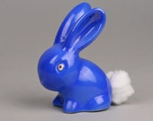 Vintage Blue Bunny Rabbit, Cotton Ball Holder, Rich Blue  Color, Ceramic made in Japan