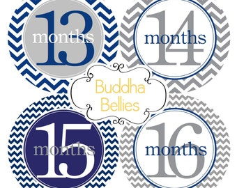 Second Year Stickers - Baby Boy - Navy and Gray - Baby Month Stickers - Monthly Baby Stickers - Police Baby Theme Nursery Gift - Baby Shower