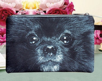 Black dog pouch,  dog pouch, dog purse, dog clutch, dog lover pouch, dog portrait pouch, dog makeup bag, PD-270