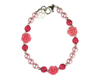 Adorable Pink Scattered Flowers and Crystals Bracelet (BSFR)