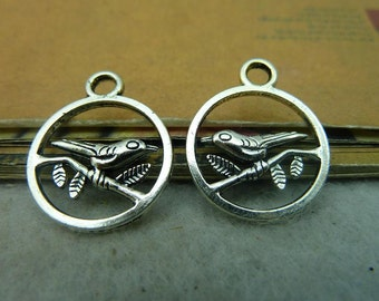 30pcs 20*25mm antique silver  bird charms pendant C4086