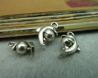 50pcs 6*10*15mm antique silver dolphin animal charms pendant C5573