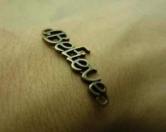20pcs 10*36mm antique bronze Believe letter  link charms pendant C6198