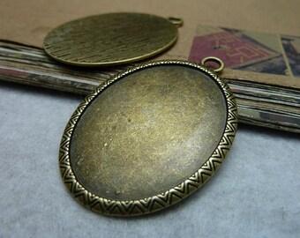 5pcs 40x30mm antique bronze cabochon pendant settings C7922