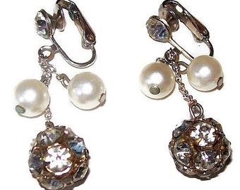 """Rhinestone Pearl Drop Earrings Rose Montees Silver Metal 2"""" Dangles Wedding Prom Vintage"""