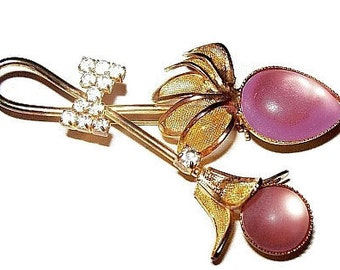 Flower Brooch Pin Pink Frosted & Ice Rhinestones Gold Mesh Flower Petals Bow Tie Accent 2.5 in Vintage